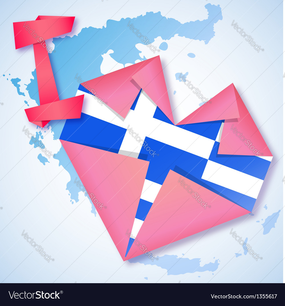 Origami paper i love greece heart card vector | Price: 1 Credit (USD $1)