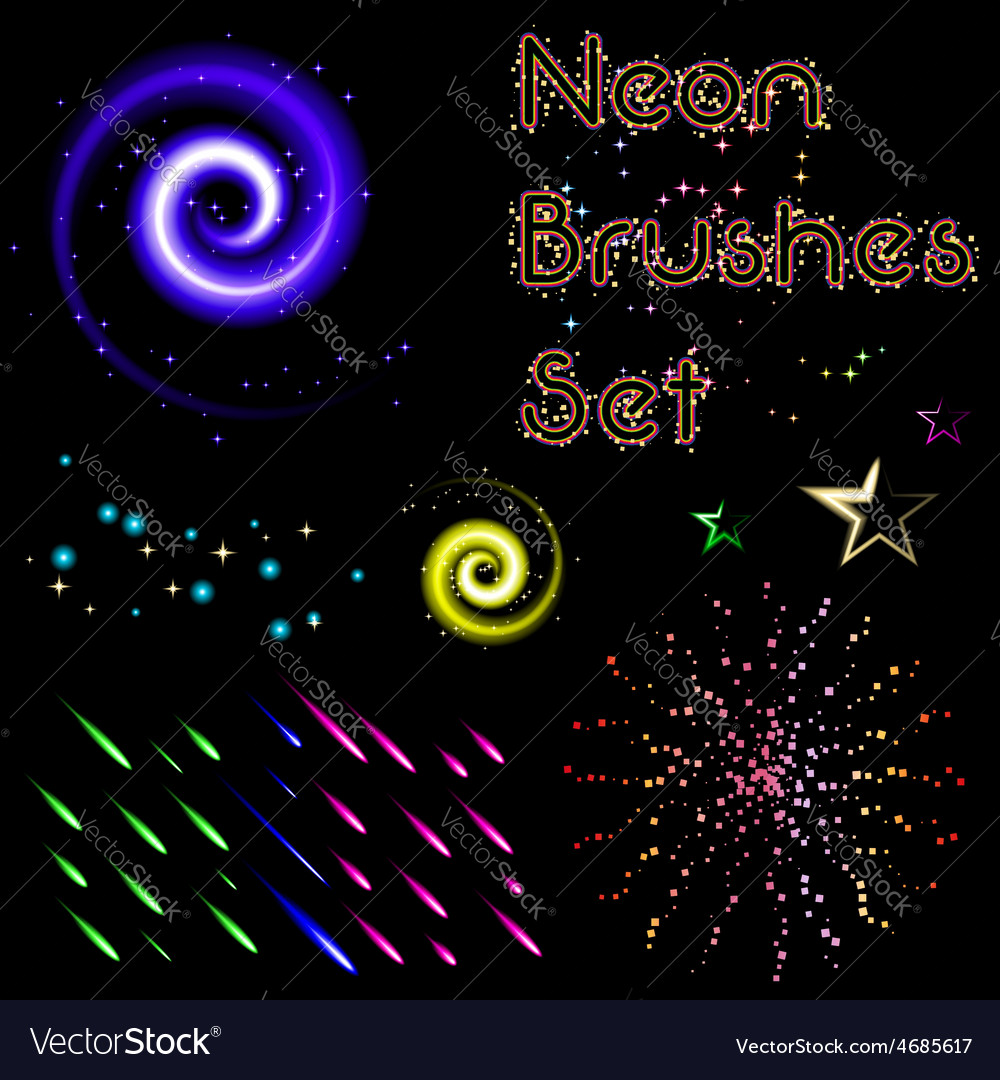 Set of neon brushes vector | Price: 1 Credit (USD $1)