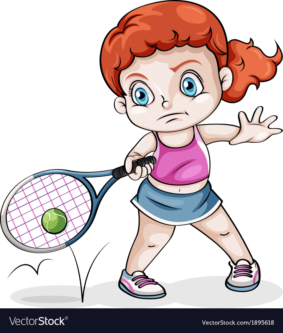 A caucasian girl playing tennis vector | Price: 1 Credit (USD $1)
