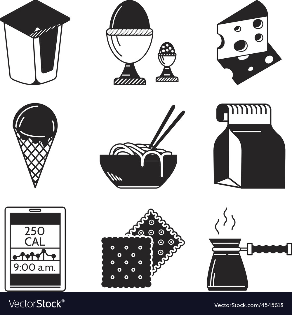 Black icons for lunch menu vector | Price: 1 Credit (USD $1)