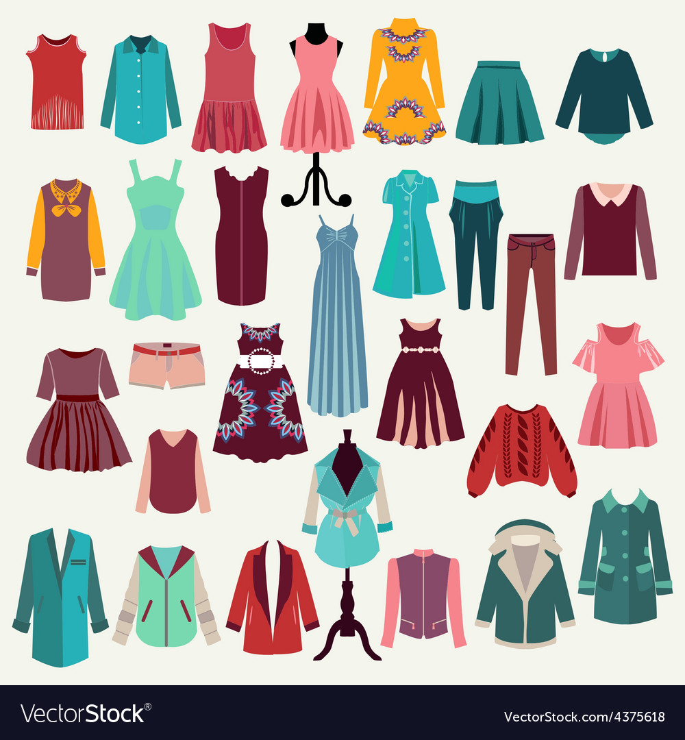Clothes collection woman wardrobe vector | Price: 1 Credit (USD $1)
