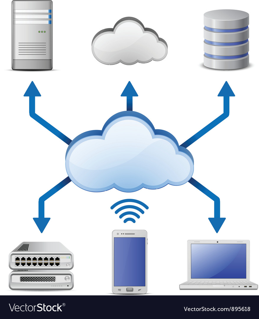 Cloud computing network vector | Price: 3 Credit (USD $3)