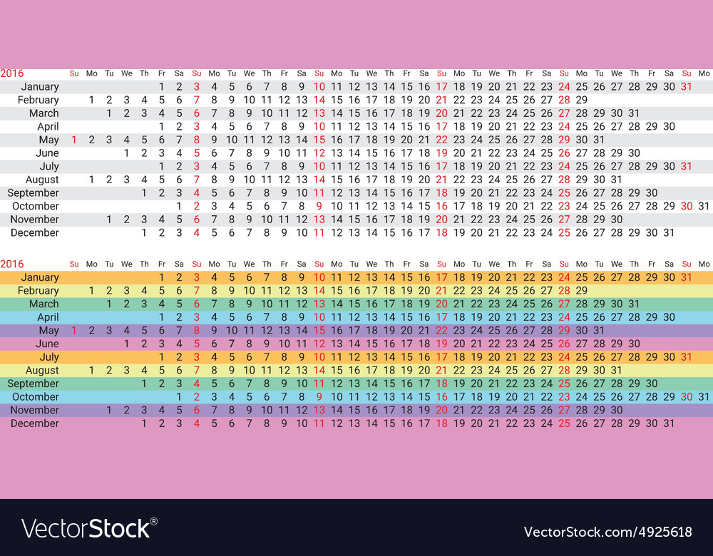 Creative rainbow calendar 2016 vector