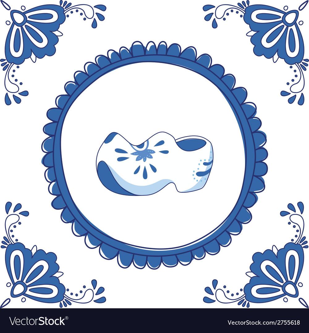 Delft blue clogs vector | Price: 1 Credit (USD $1)