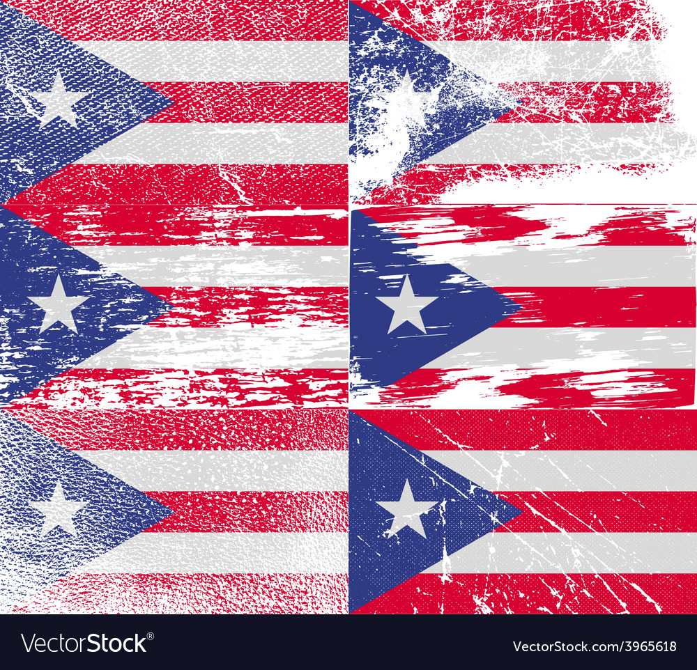 Flag of puerto rico with old texture vector | Price: 1 Credit (USD $1)