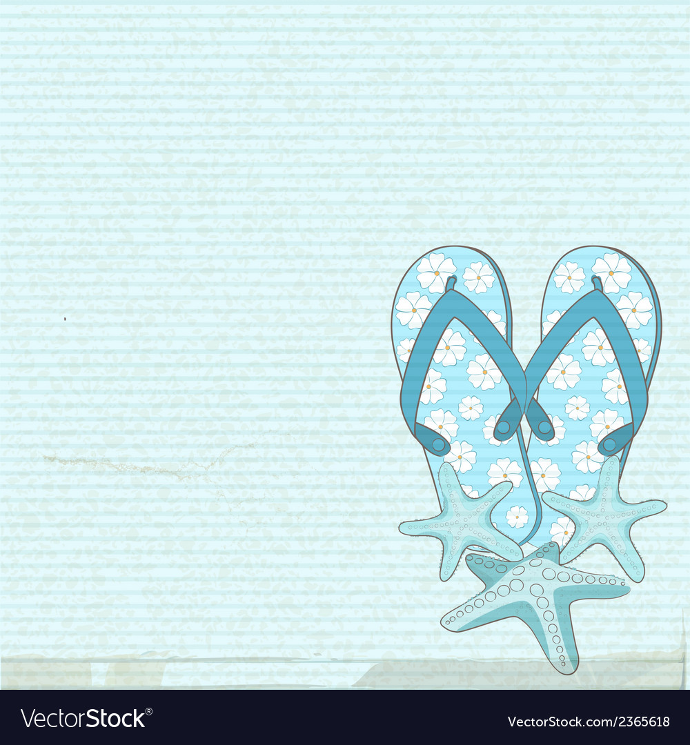 Flip flops and starfish vector | Price: 1 Credit (USD $1)