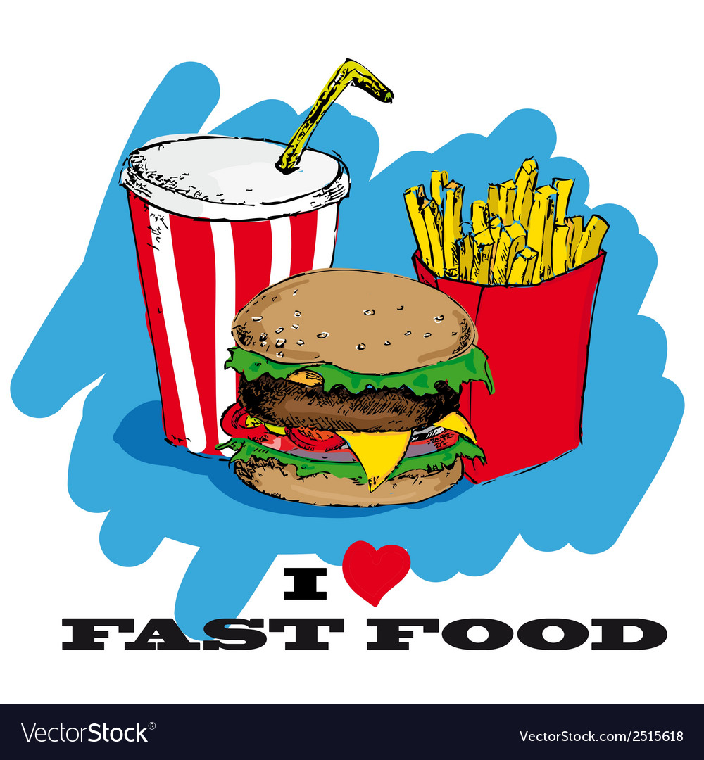 I love fast food card design vector | Price: 1 Credit (USD $1)