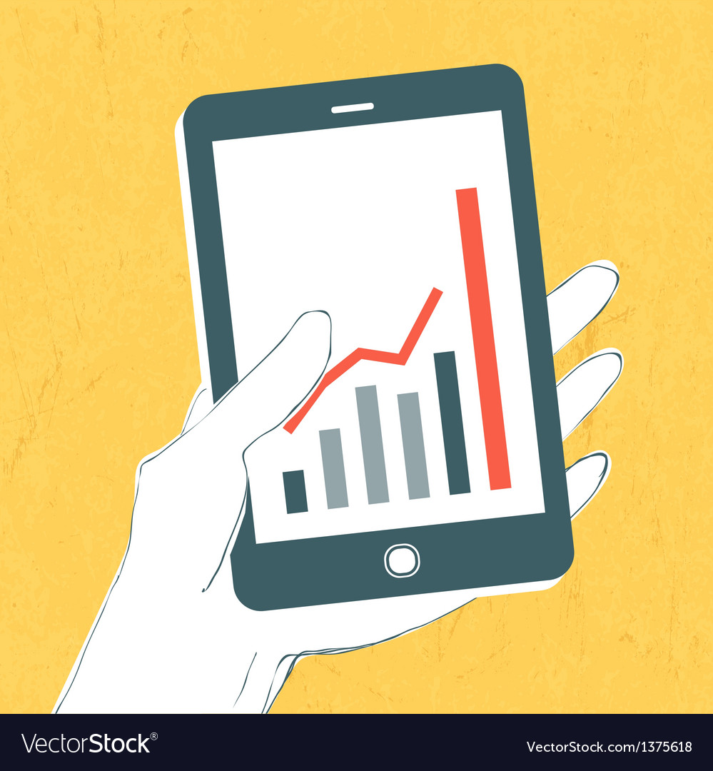 Mobile phone with success graph vector | Price: 1 Credit (USD $1)