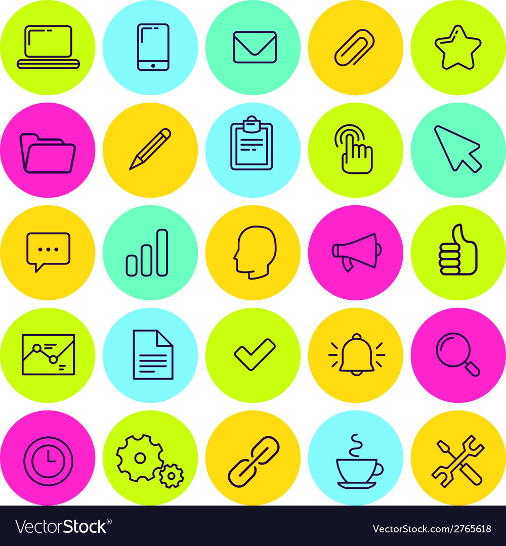 Set of business and office icons vector | Price: 1 Credit (USD $1)