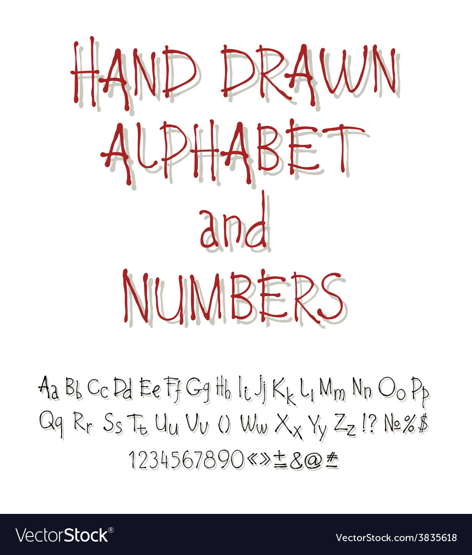Set of calligraphic acrylic or ink alphabet vector | Price: 1 Credit (USD $1)
