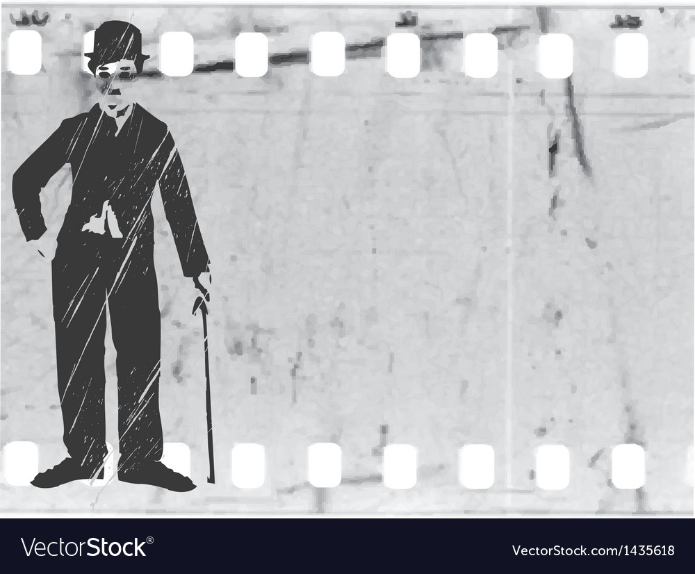 Silhouette chaplin on old film vector | Price: 1 Credit (USD $1)