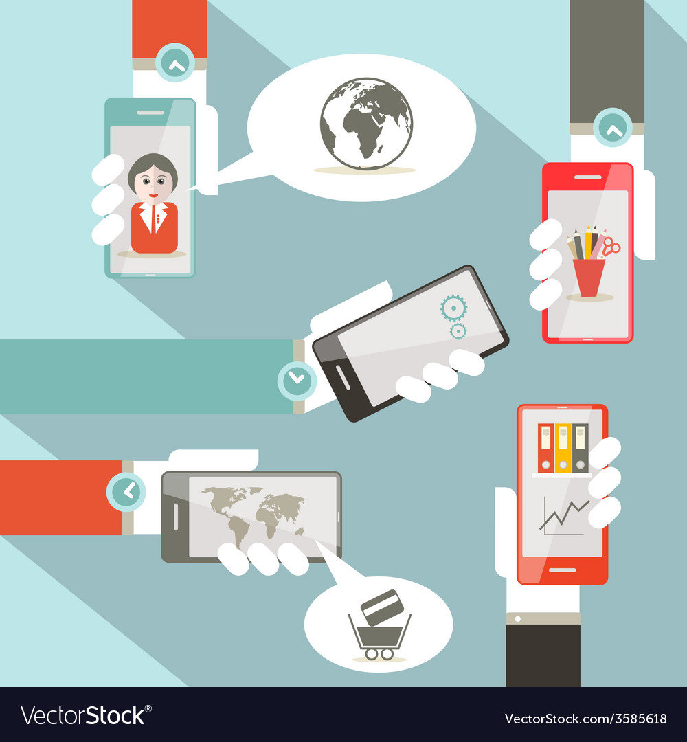 Social media symbols with cell phones in hands vector | Price: 1 Credit (USD $1)