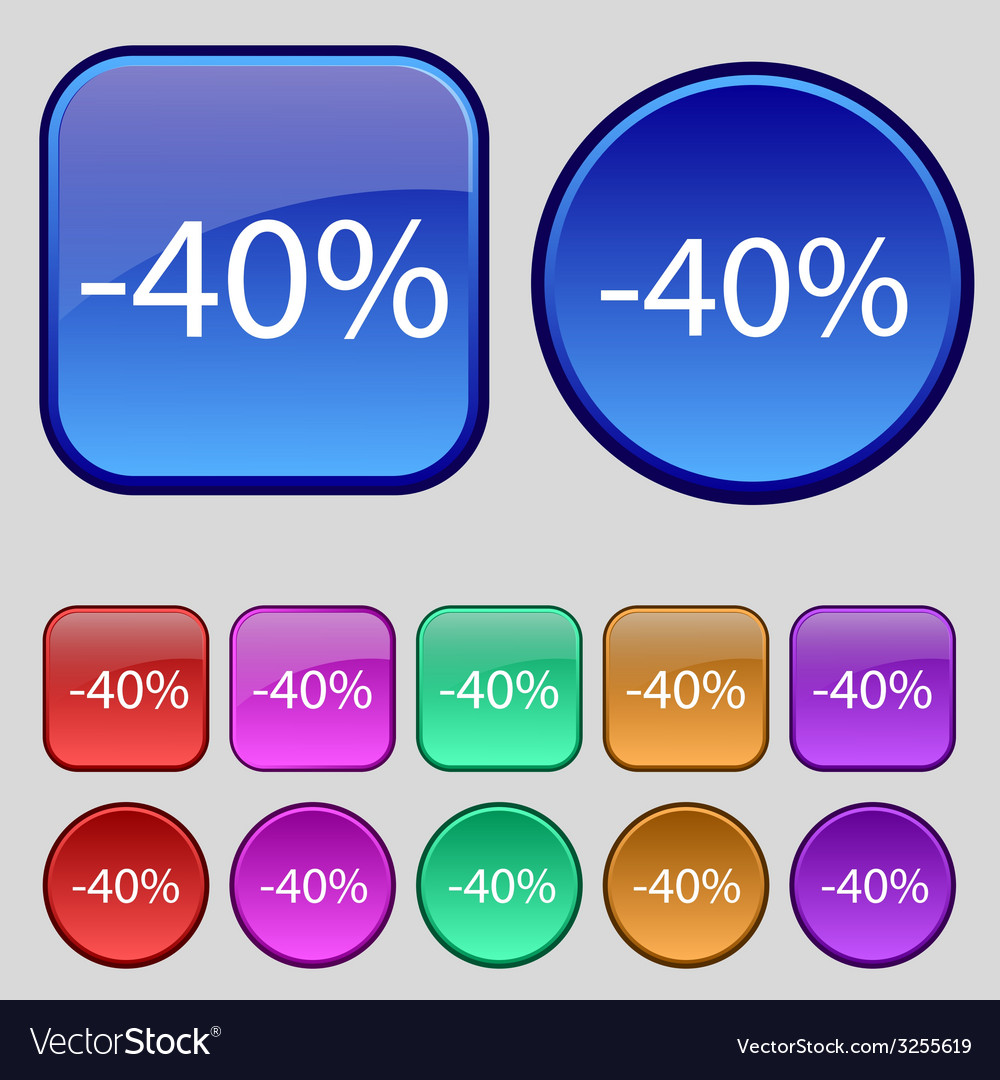 40 percent discount sign icon sale symbol special vector | Price: 1 Credit (USD $1)