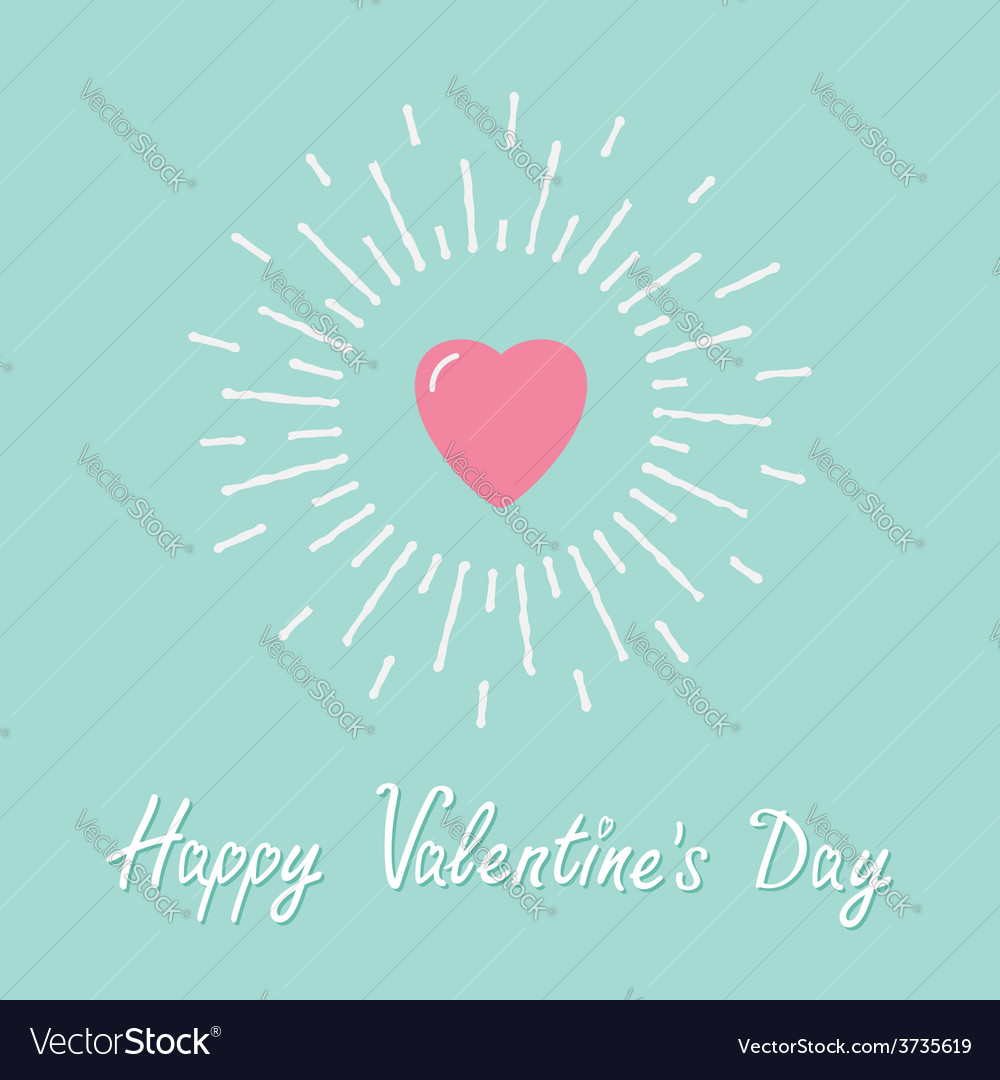 Big pink shining heart flat design valentines day vector | Price: 1 Credit (USD $1)