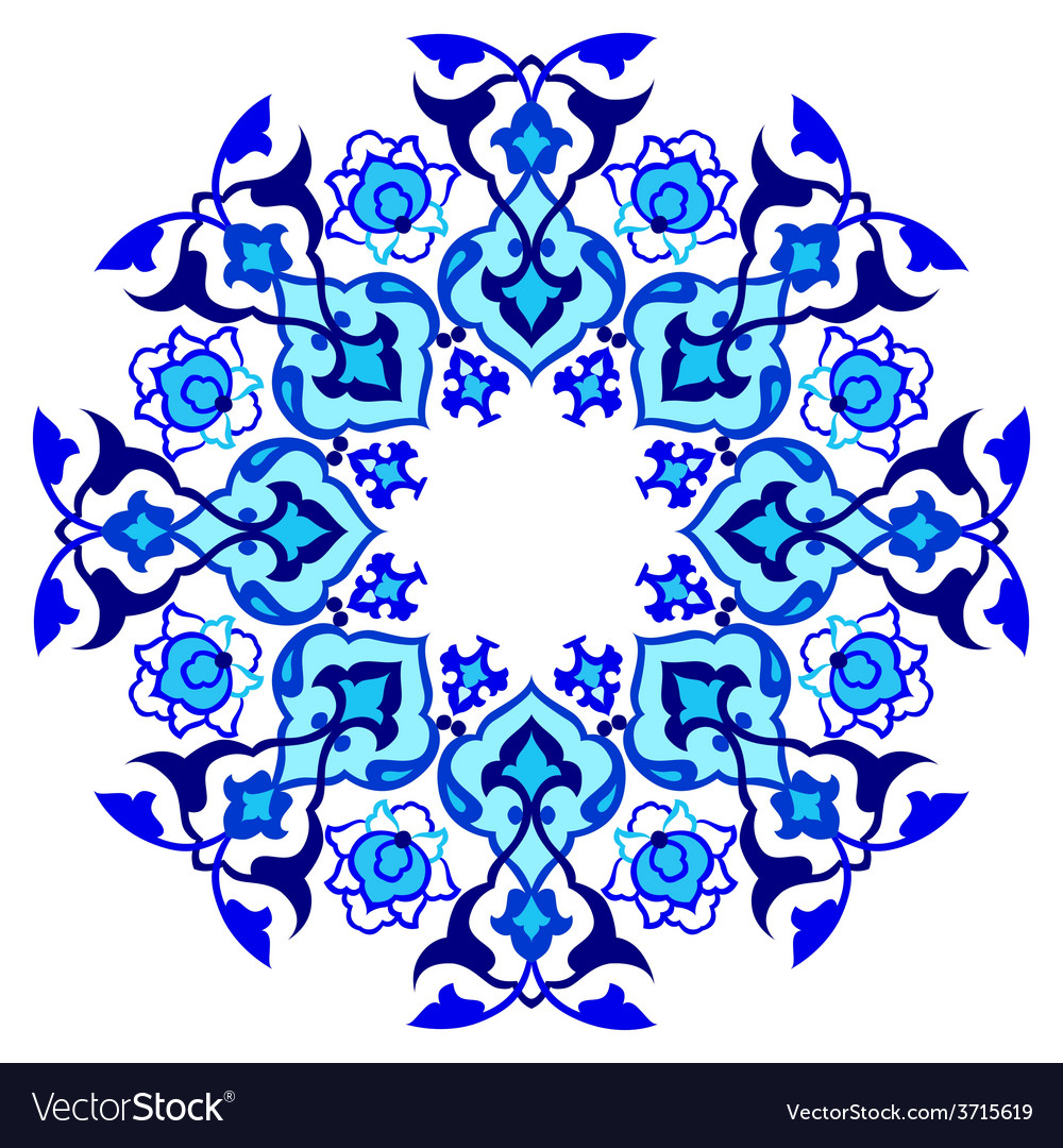 Blue artistic ottoman pattern series sixty vector | Price: 1 Credit (USD $1)