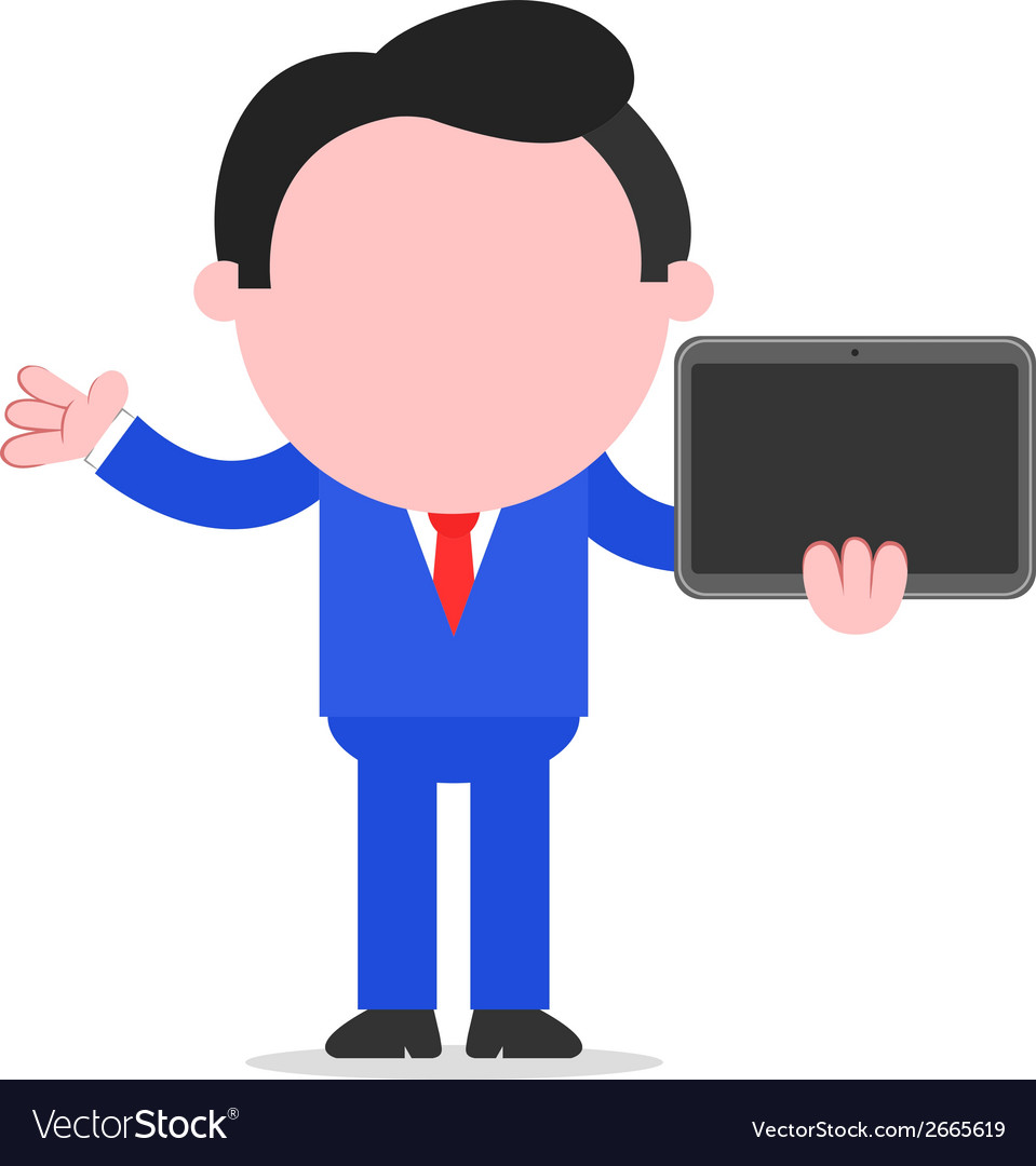 Businessman holding tablet vector | Price: 1 Credit (USD $1)