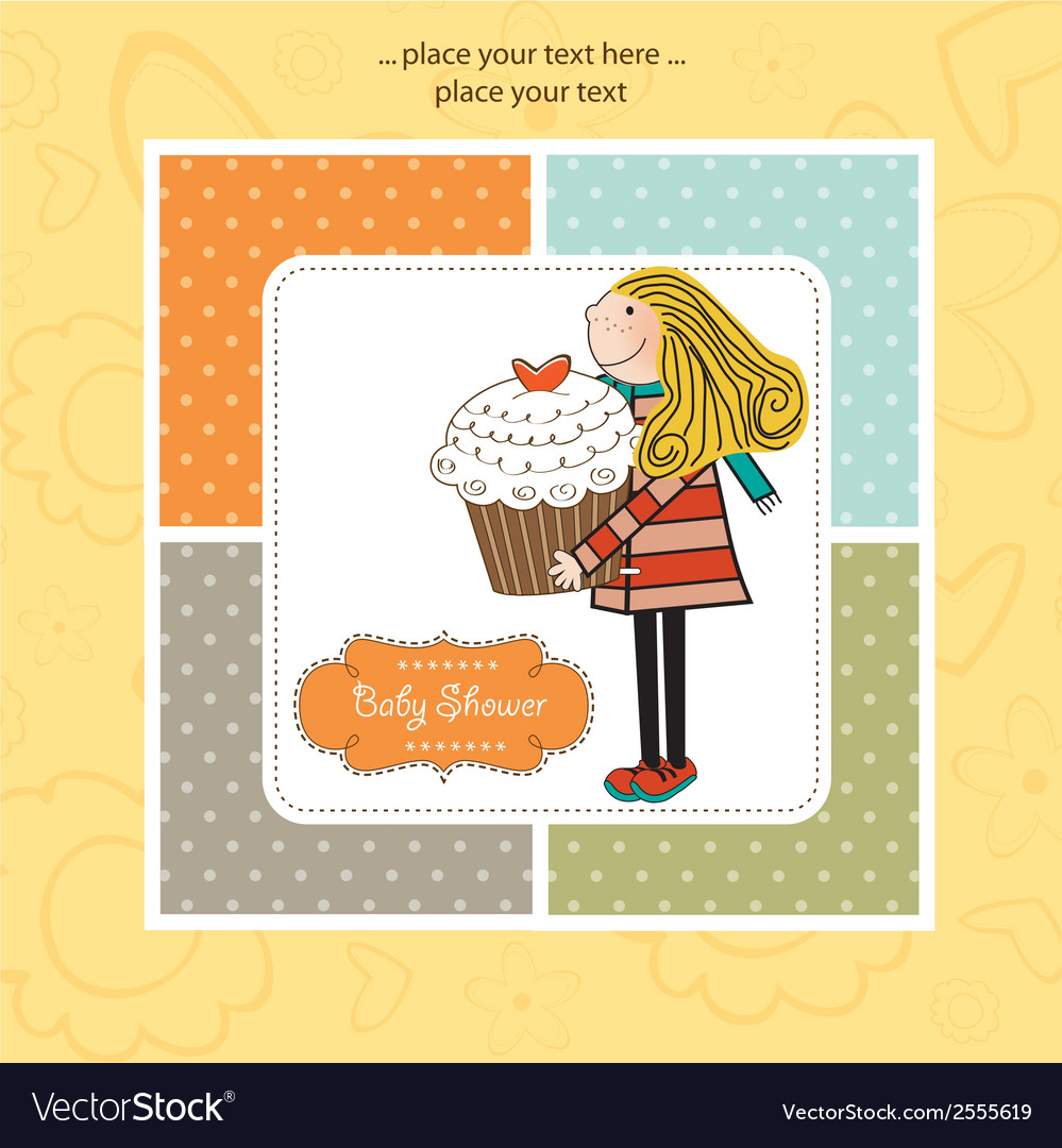 Happy birthday card with girl and cup cake vector | Price: 1 Credit (USD $1)