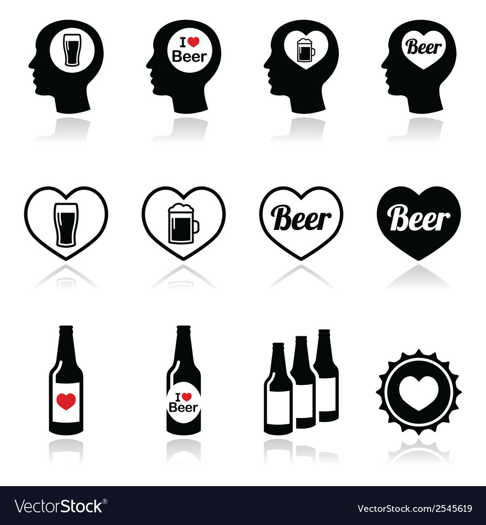 Man loving beer icons set vector | Price: 1 Credit (USD $1)