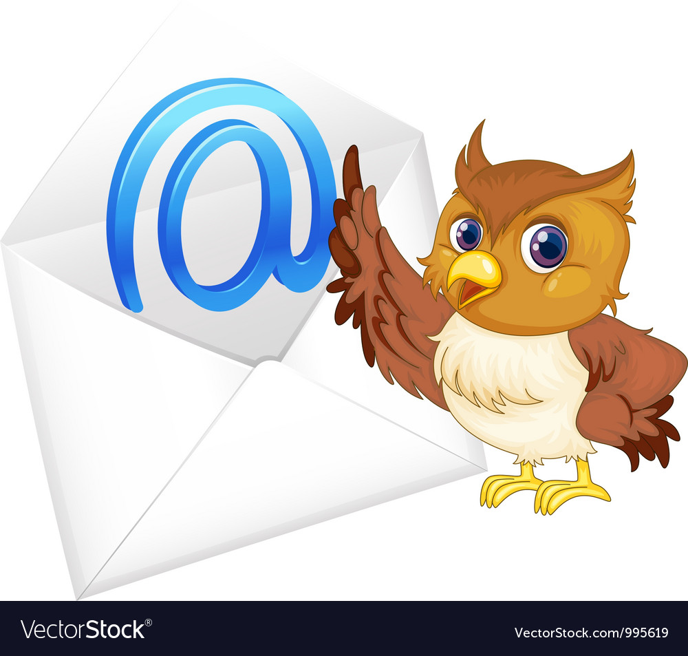 Owl with mail envelope vector | Price: 3 Credit (USD $3)