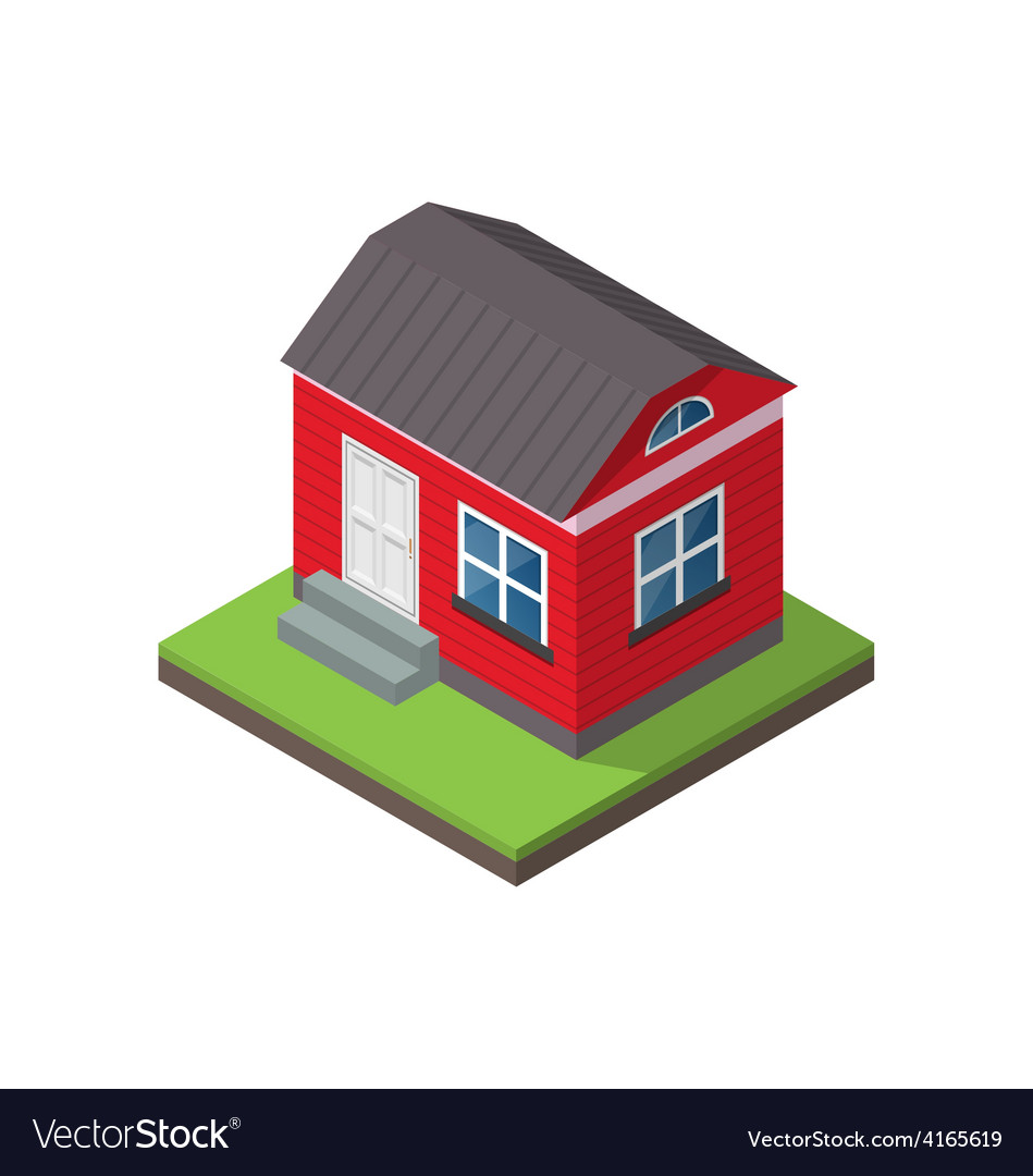 Residential isometric house isolated on white vector | Price: 1 Credit (USD $1)