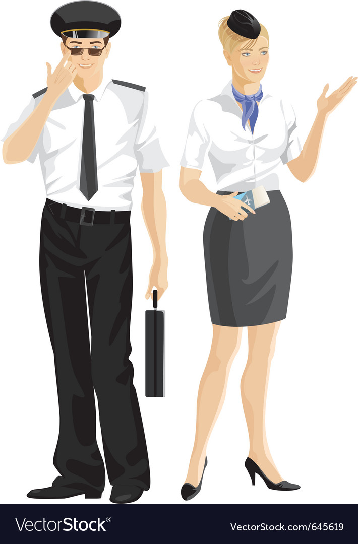 Stewardess and pilot vector | Price: 3 Credit (USD $3)