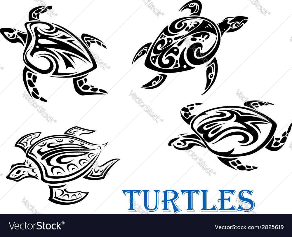 Swimming turtles set vector | Price: 1 Credit (USD $1)