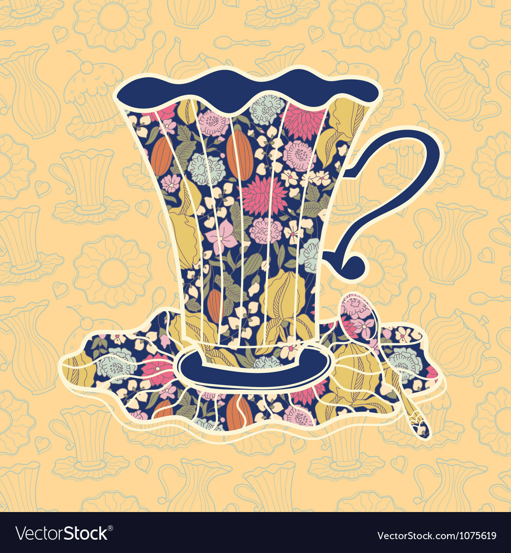 Teacup background vector | Price: 1 Credit (USD $1)