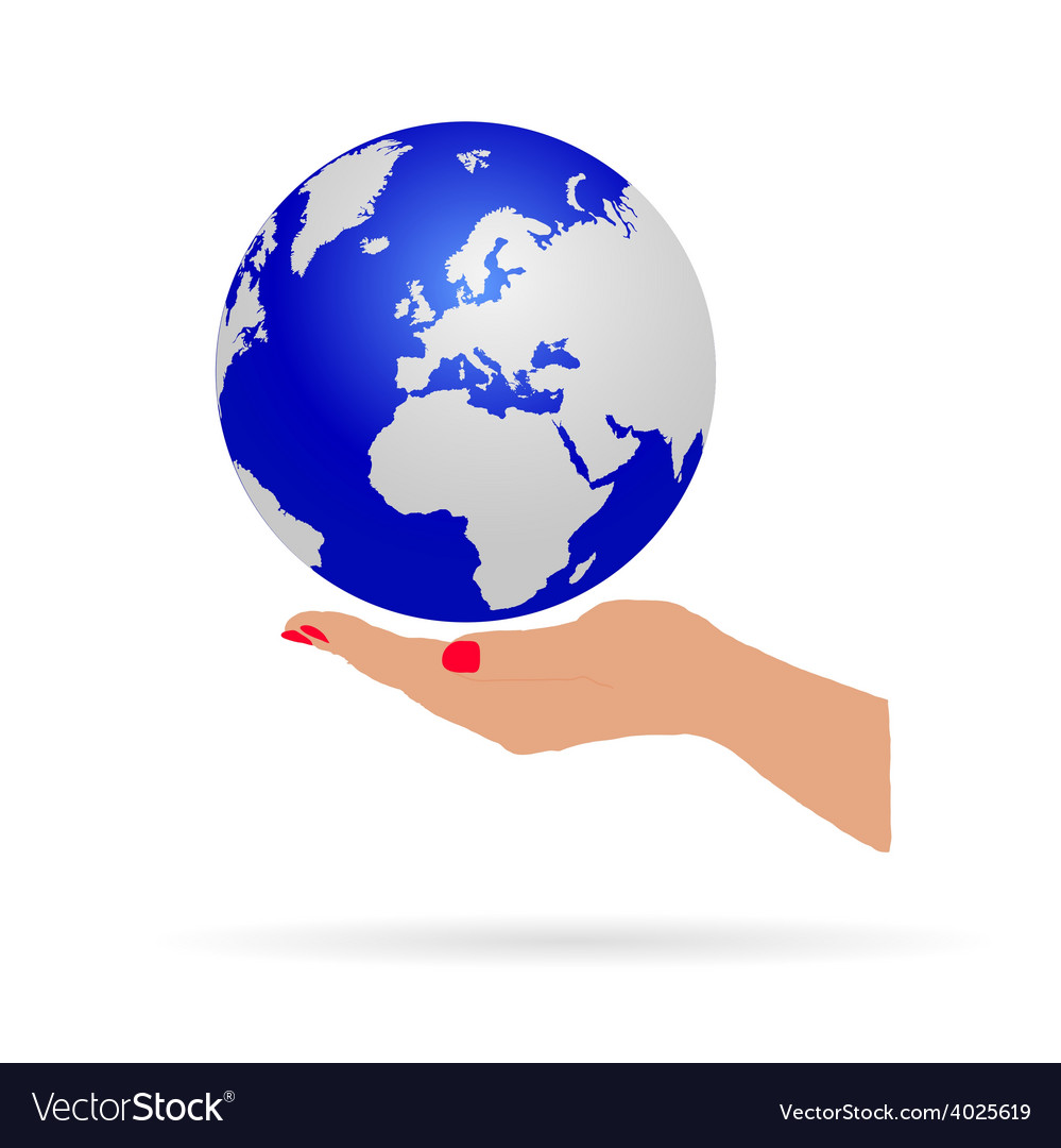 Woman hand holding earth vector | Price: 1 Credit (USD $1)