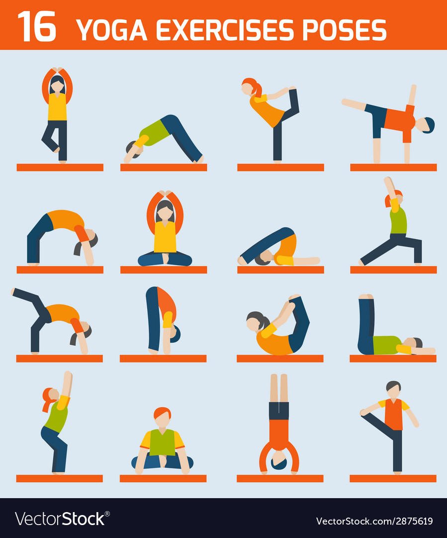 Yoga exercises icons vector | Price: 1 Credit (USD $1)