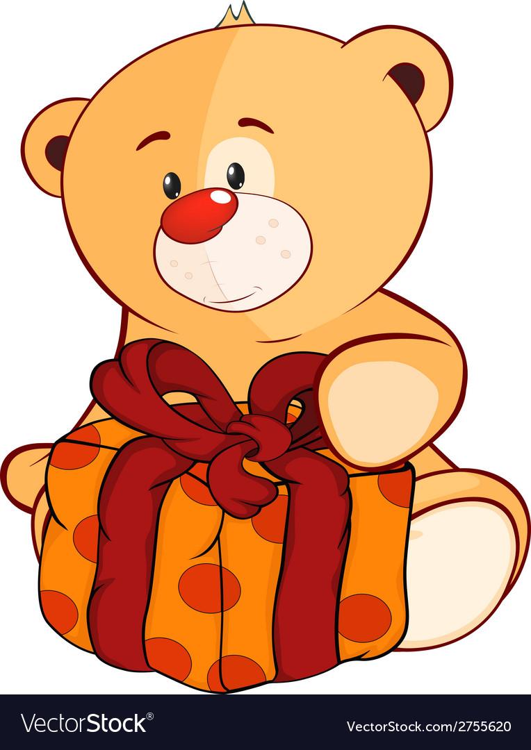 A stuffed toy bear cub and a box cartoon vector   Price: 1 Credit (USD $1)