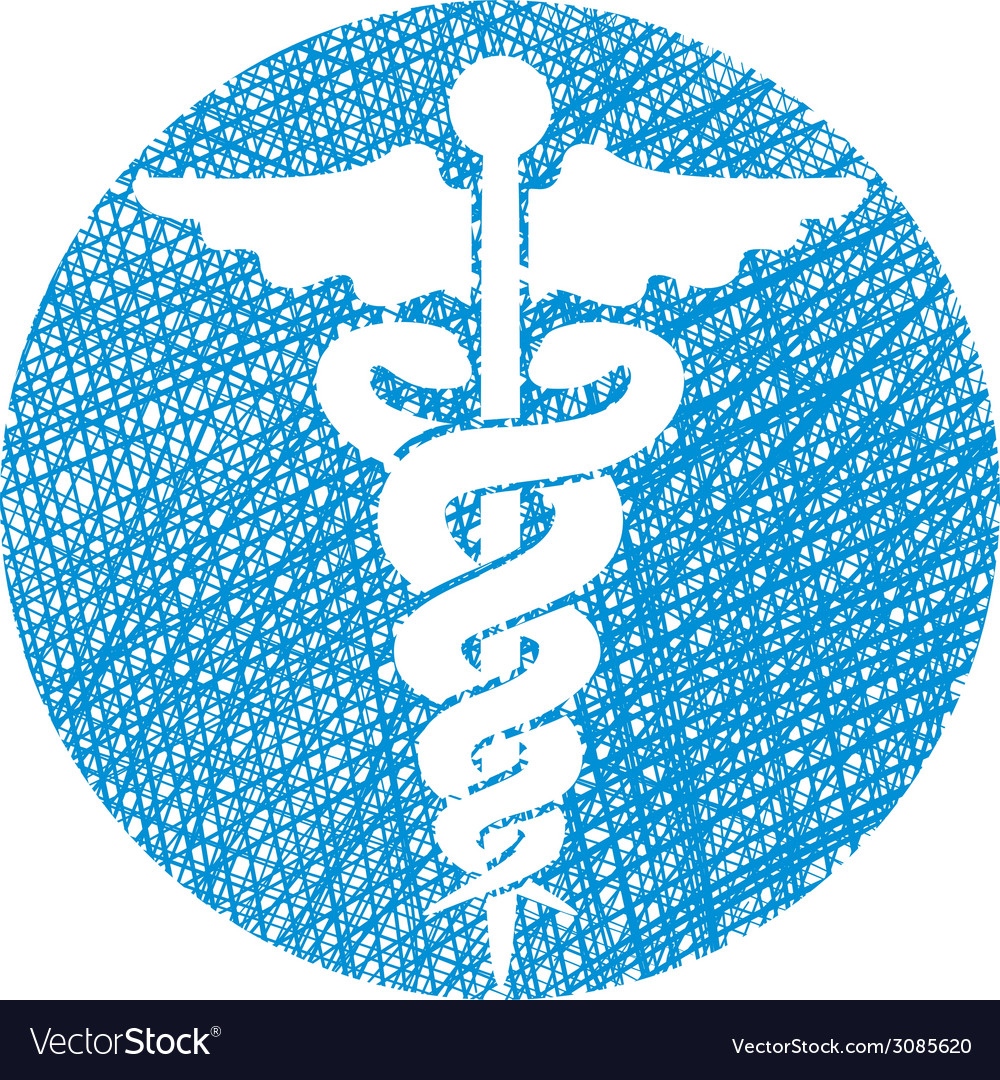 Caduceus medical icon with hand drawn lines vector | Price: 1 Credit (USD $1)