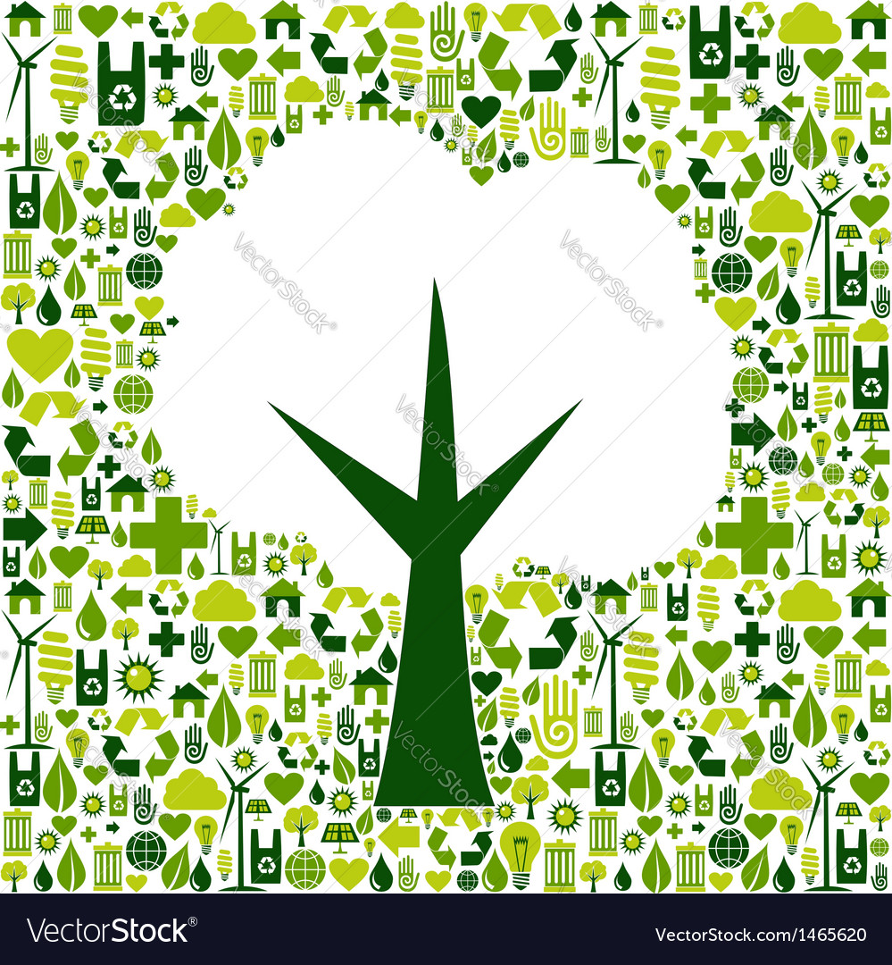 Eco tree symbol with green icons vector | Price: 1 Credit (USD $1)