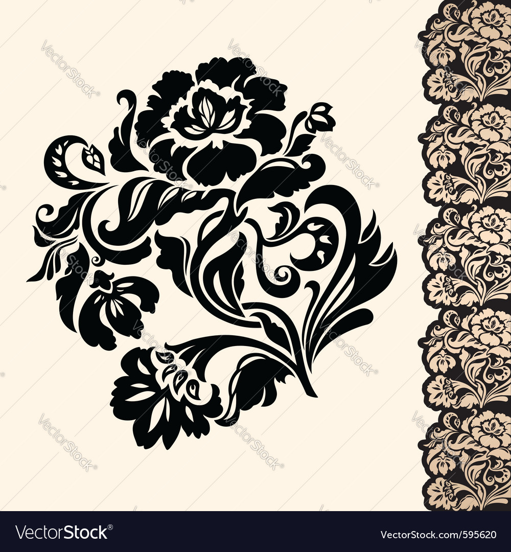 Flower and border vector | Price: 1 Credit (USD $1)