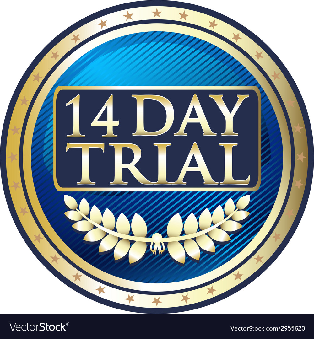 Fourteen day trial emblem vector | Price: 1 Credit (USD $1)