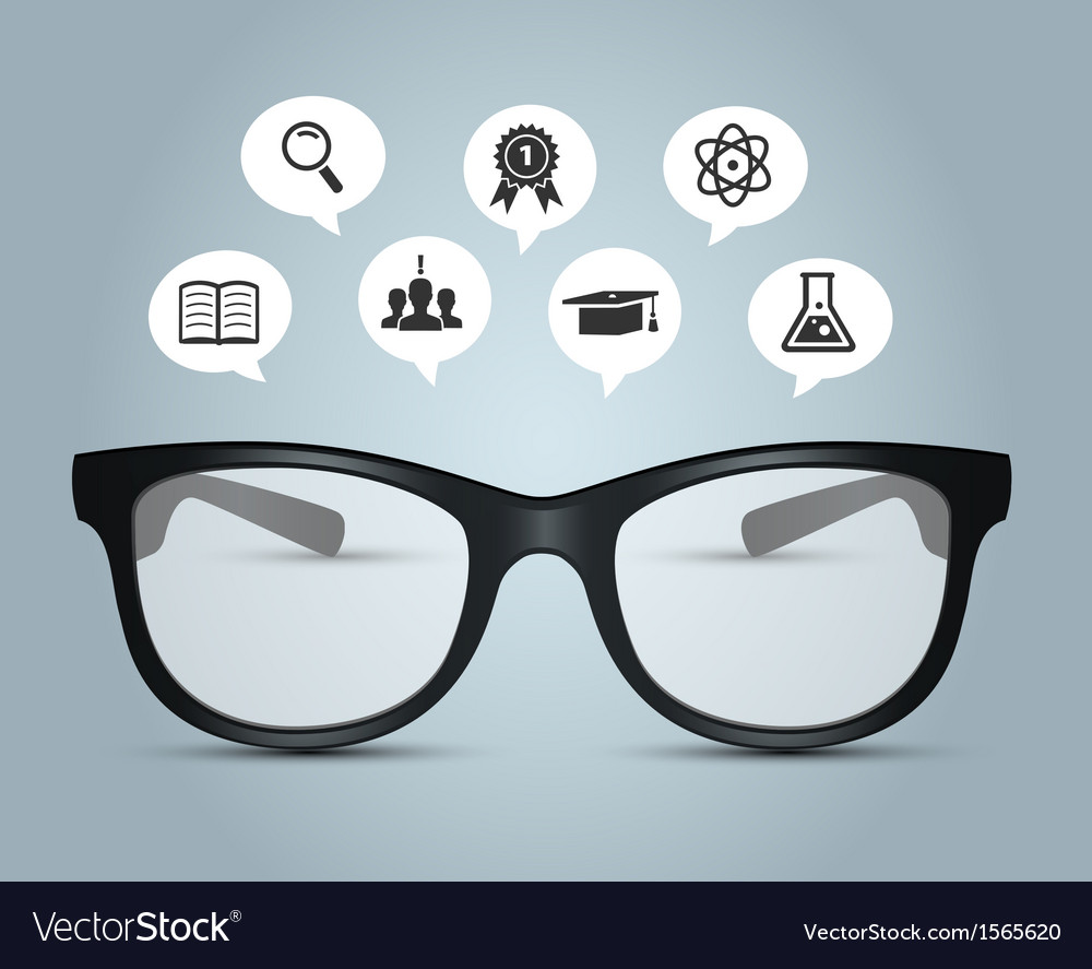 Glasses with education icons vector | Price: 1 Credit (USD $1)