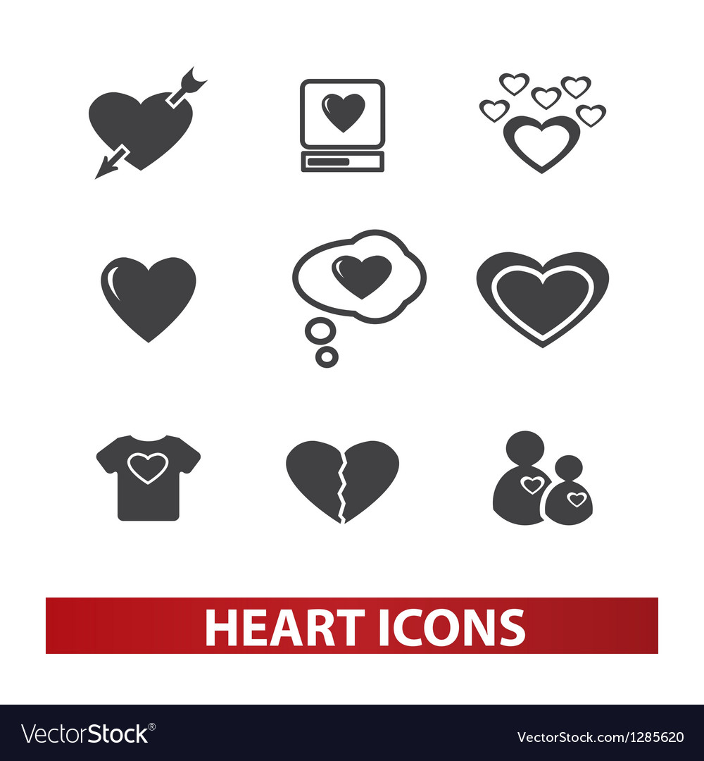 Heart icons set vector | Price: 1 Credit (USD $1)