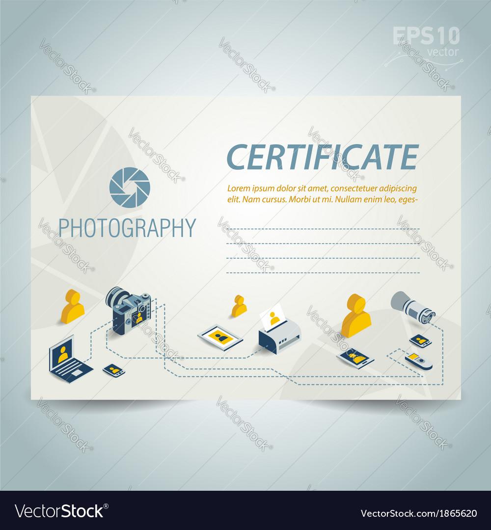 Photography certificate design photo camera vector | Price: 1 Credit (USD $1)