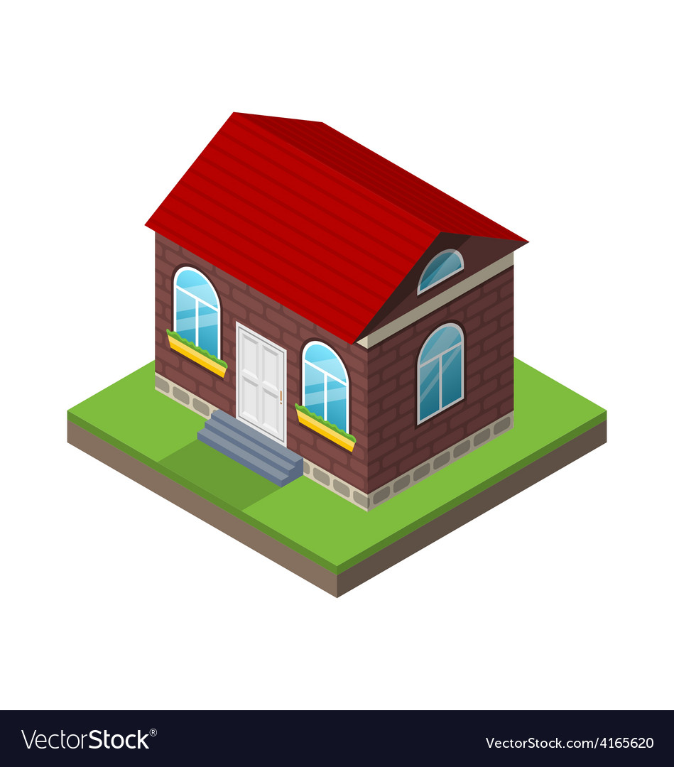 Residential isometric house with grass and ground vector | Price: 1 Credit (USD $1)