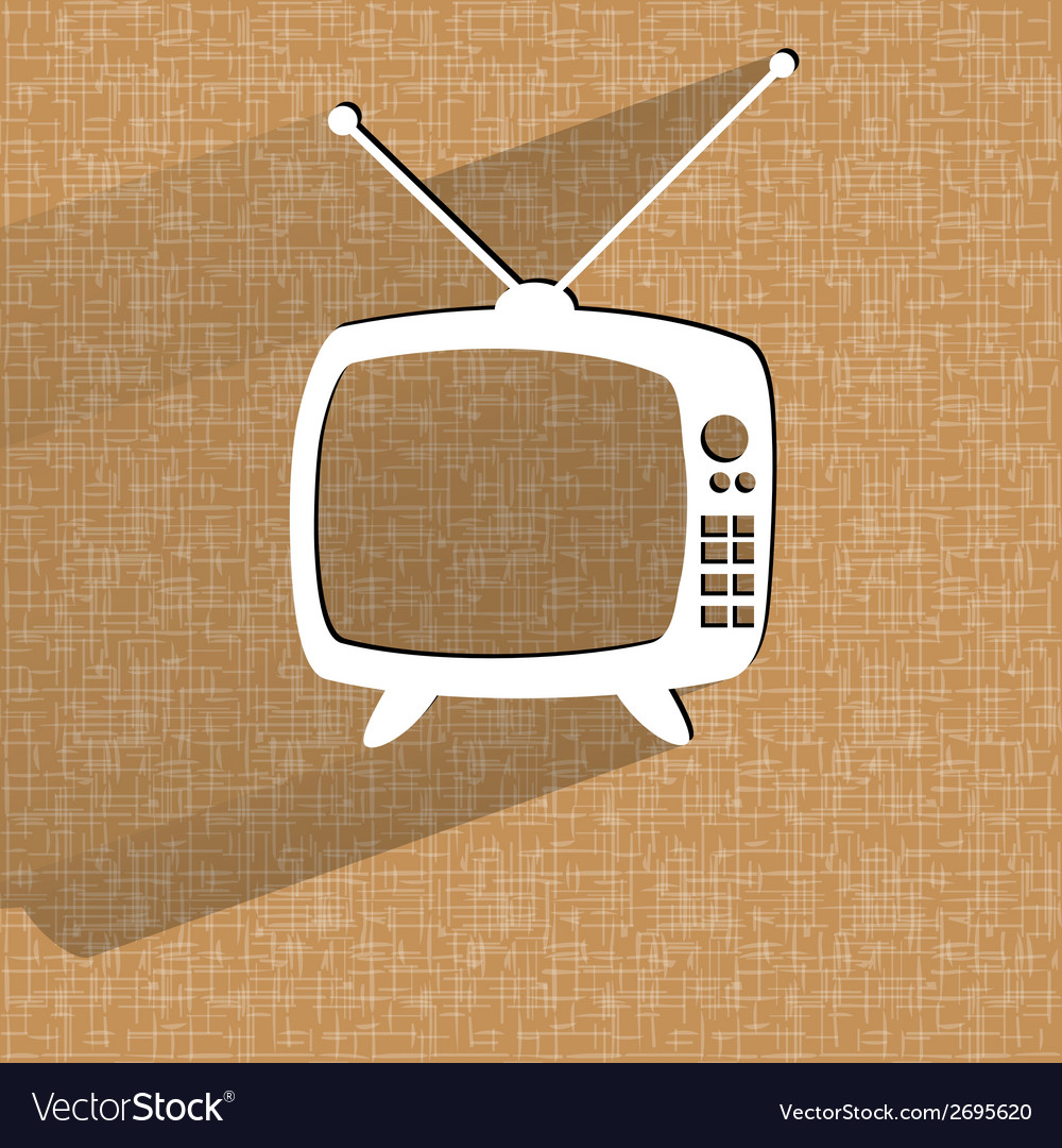 Retro tv flat modern web button on a flat vector | Price: 1 Credit (USD $1)