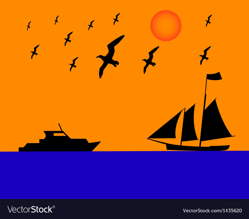 Sailing boat albatrosses to orange blue background vector | Price: 1 Credit (USD $1)