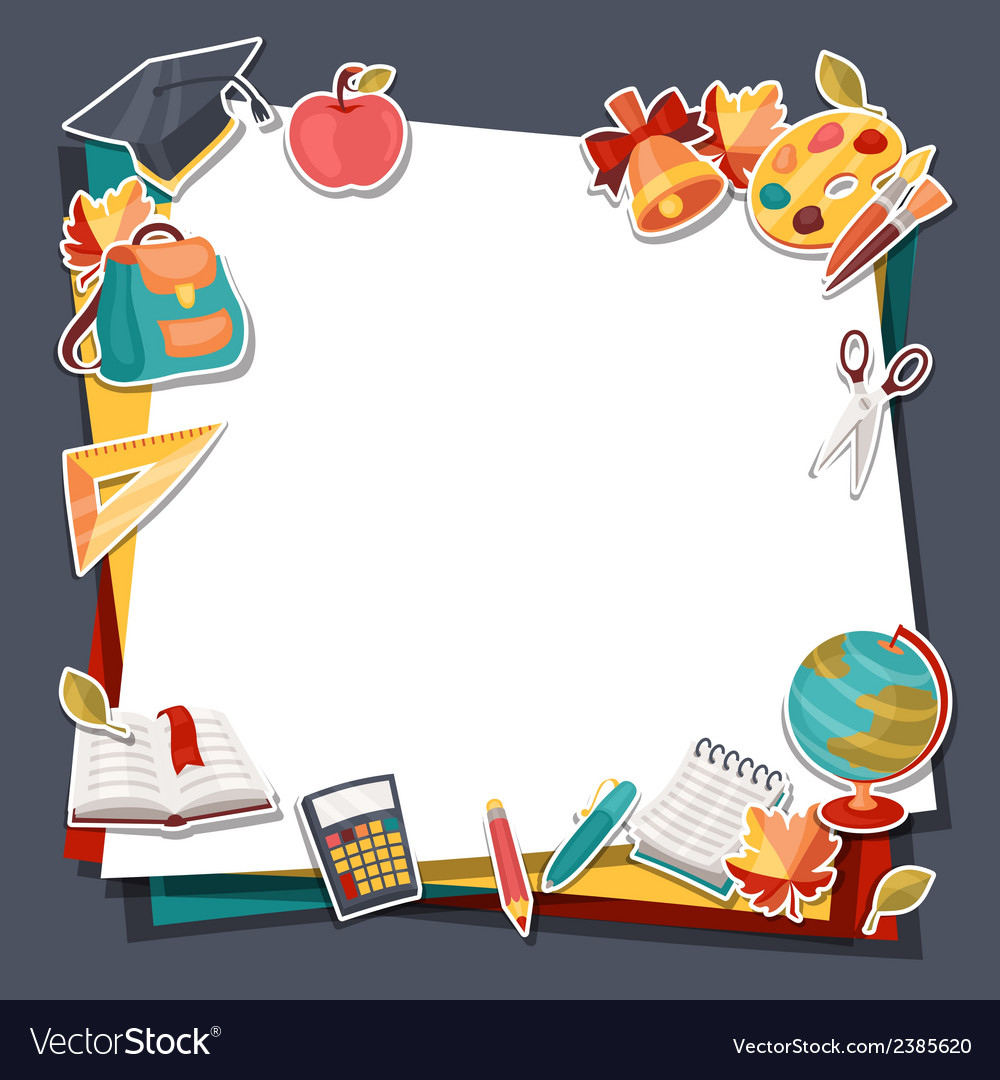 School background with education sticker icons and vector | Price: 1 Credit (USD $1)