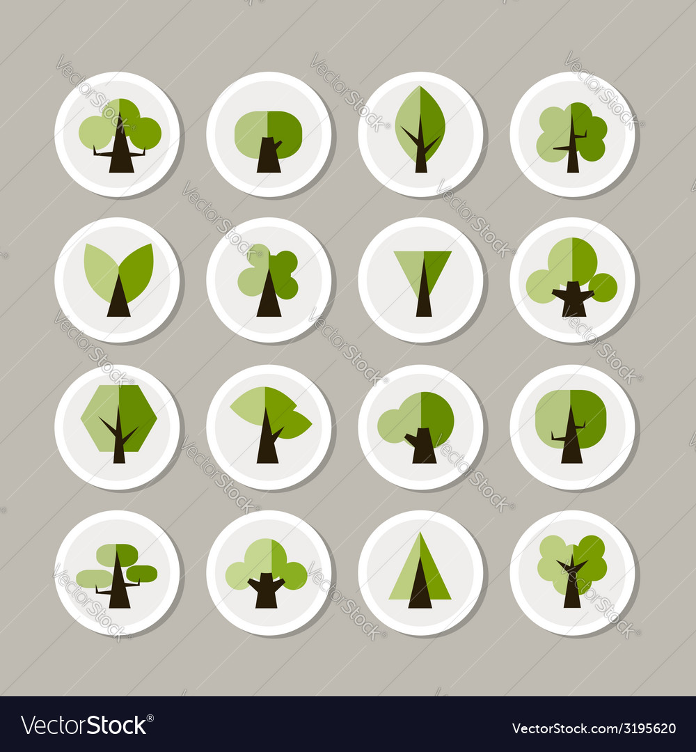Set of green tree icons for your design vector | Price: 1 Credit (USD $1)