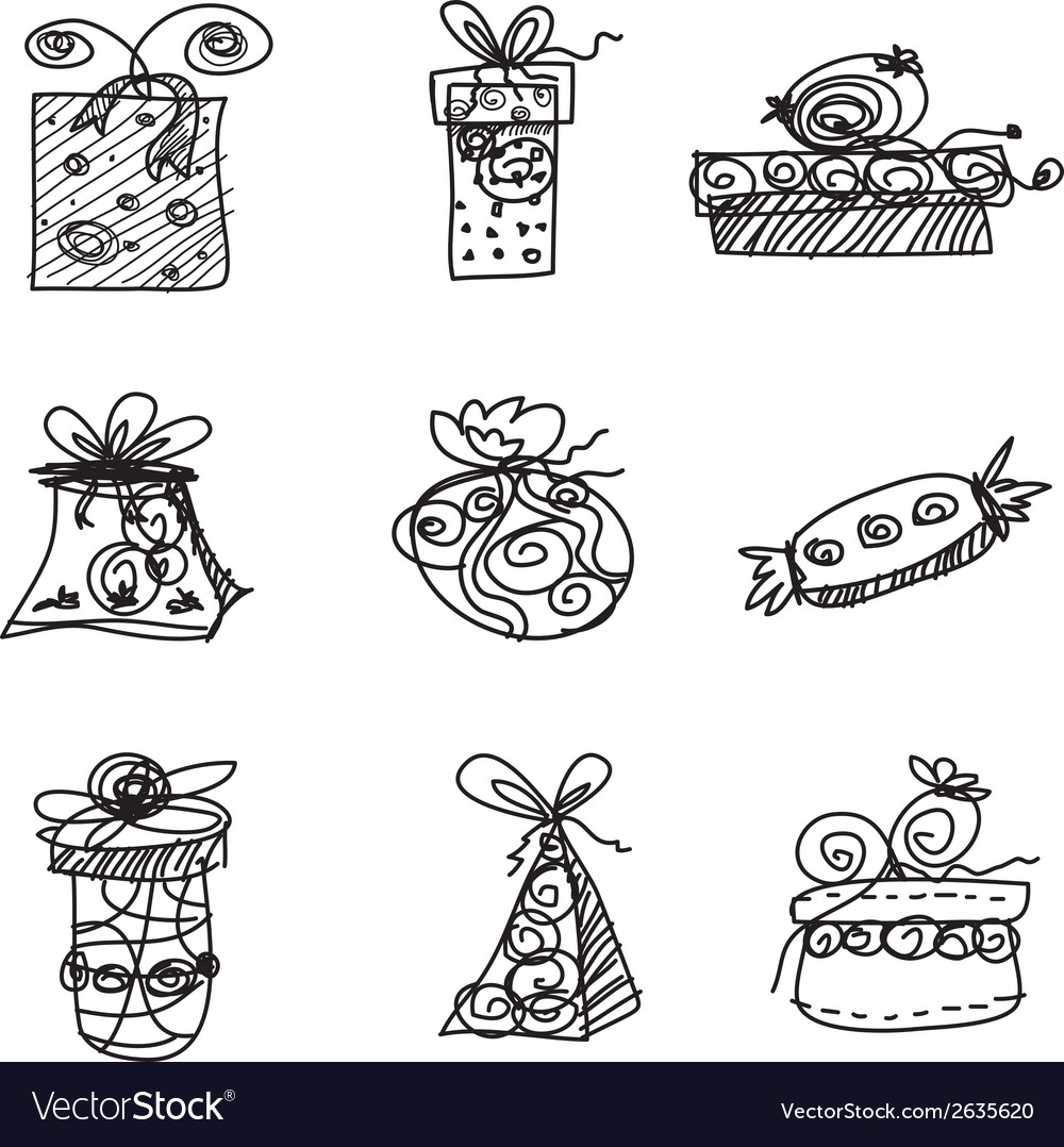 Sketch gift boxes on white background vector | Price: 1 Credit (USD $1)