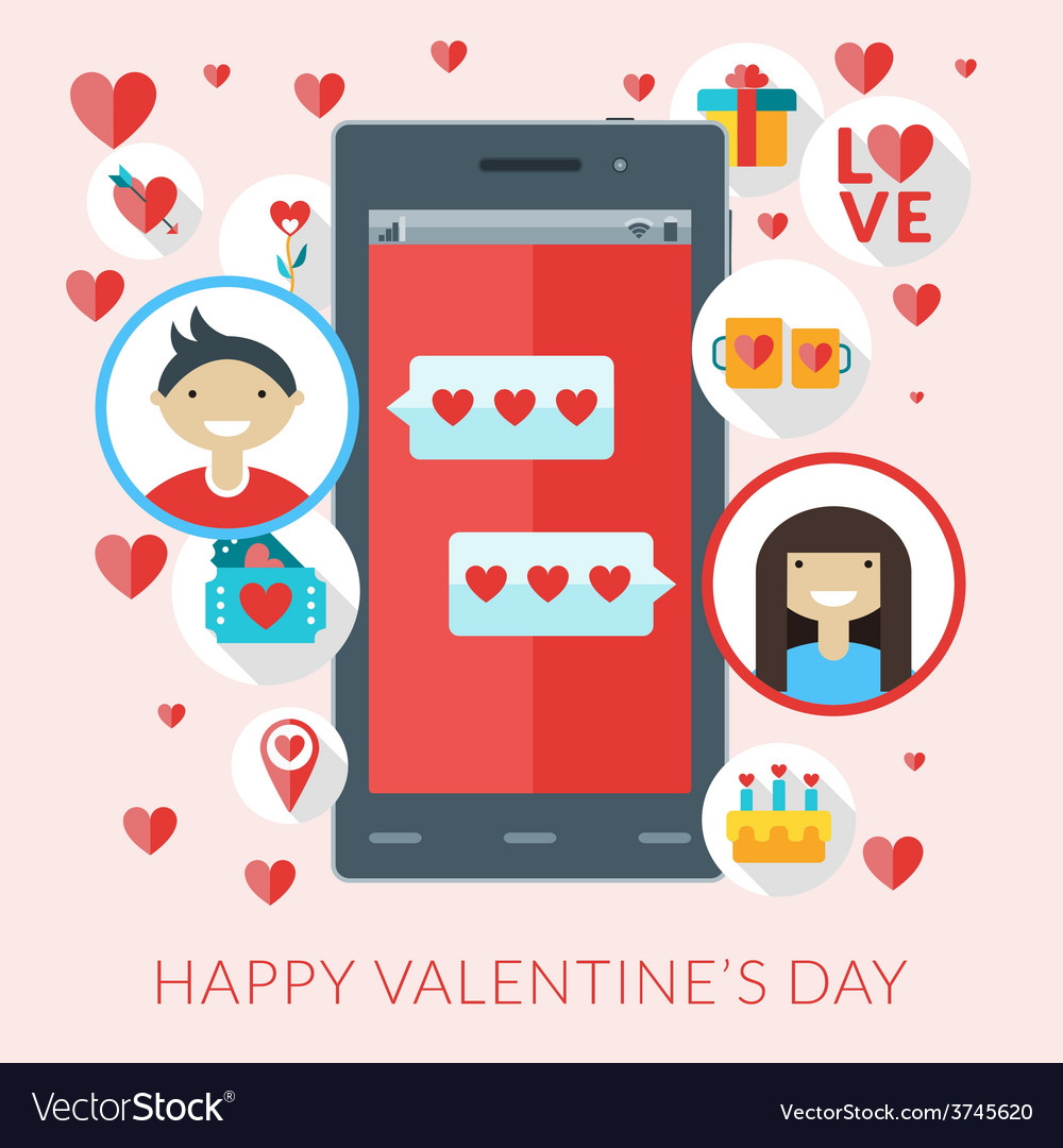 Smartphone with love sms and st valentine icons vector | Price: 1 Credit (USD $1)