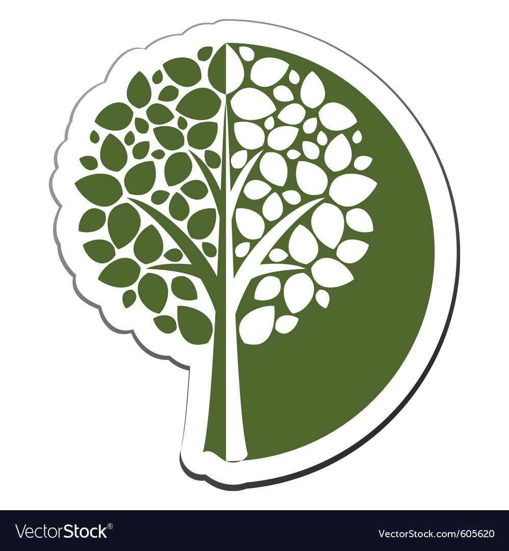 Tree emblem 1 isolated on white vector | Price: 1 Credit (USD $1)