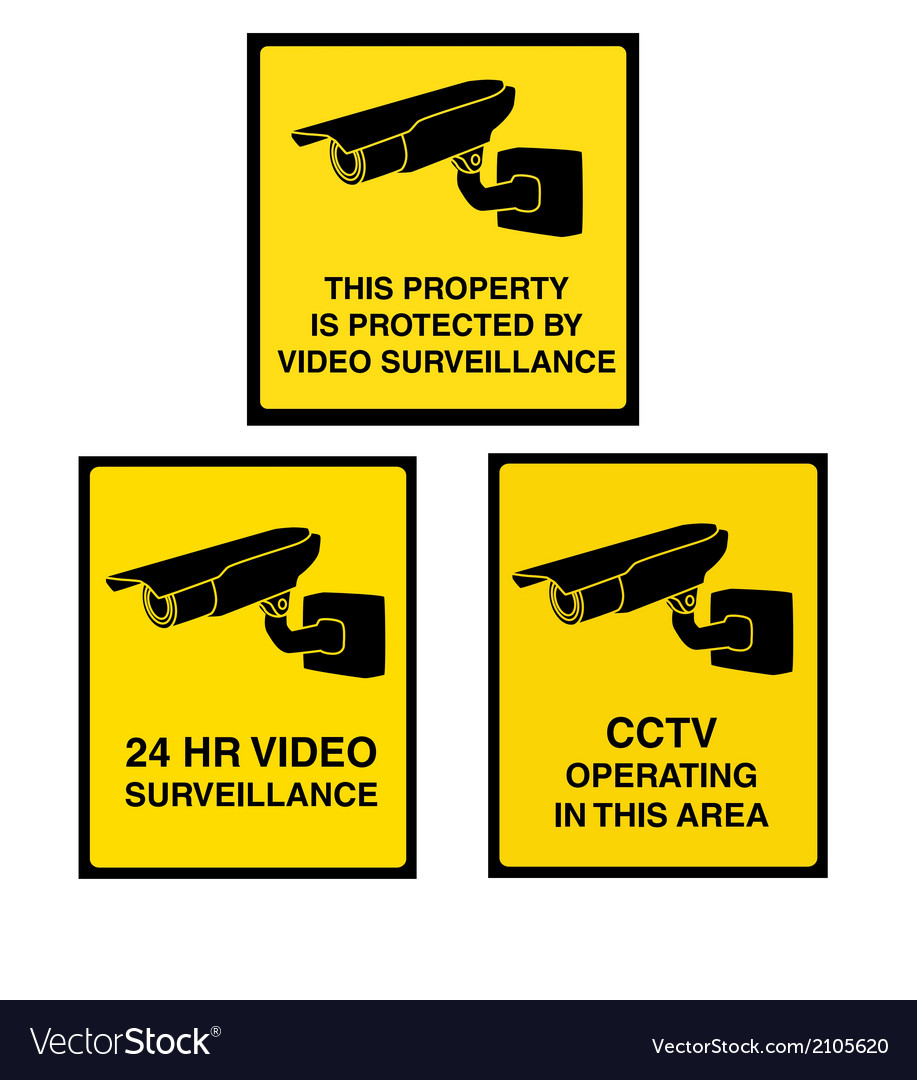 Video surveillance camera sign black and yellow vector | Price: 1 Credit (USD $1)