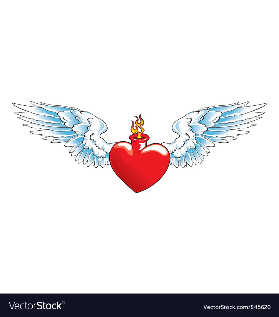 Winged heart with flames vector | Price: 3 Credit (USD $3)