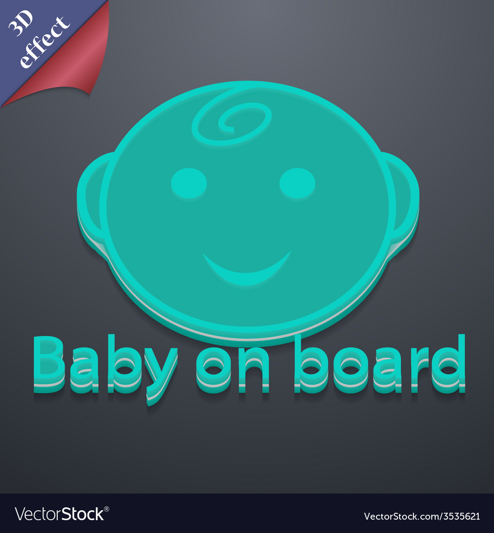 Baby on board icon symbol 3d style trendy modern vector | Price: 1 Credit (USD $1)