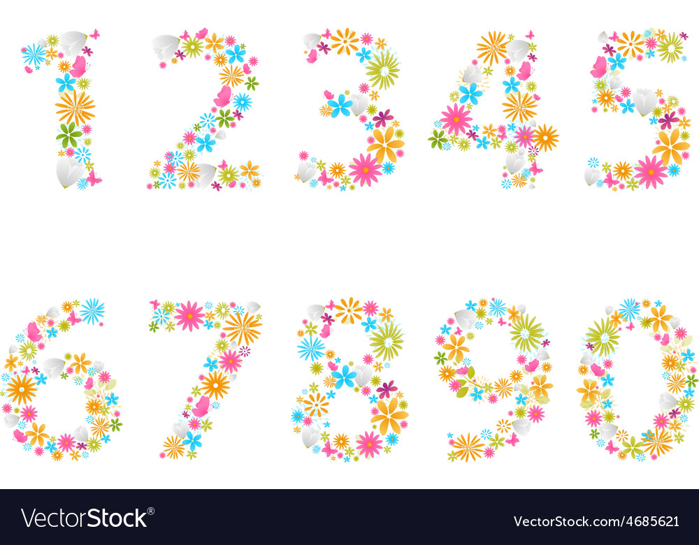 Beautiful flower numbers vector   Price: 1 Credit (USD $1)