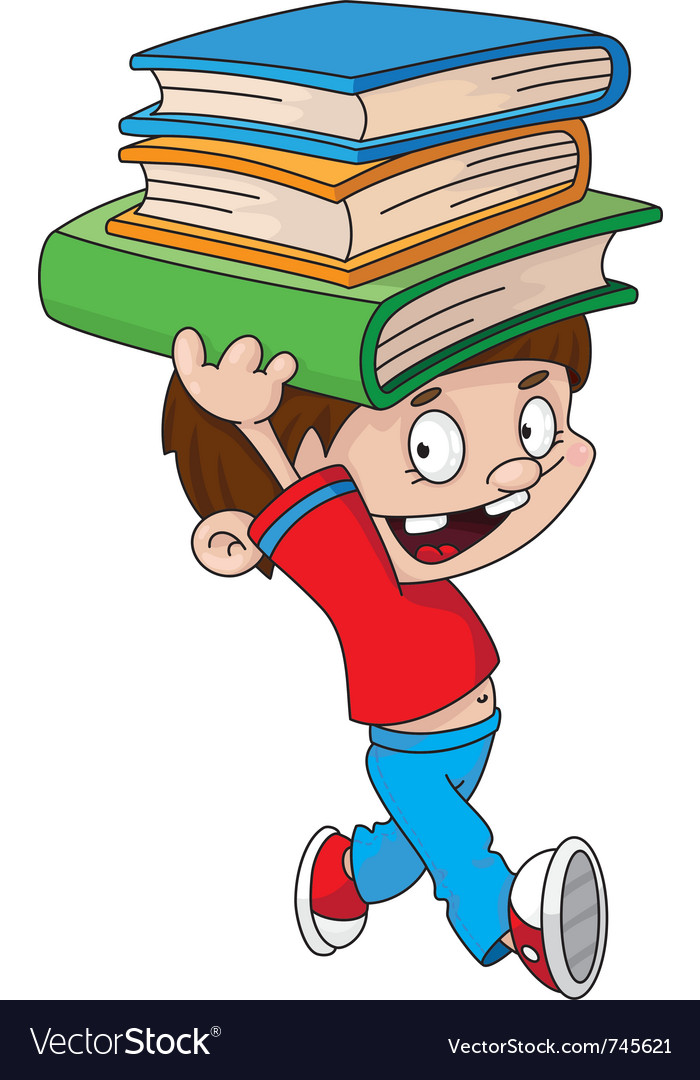 Boy with books vector   Price: 3 Credit (USD $3)